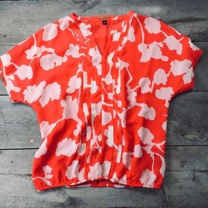 Dana Buchman Orange Floral Sheer Top Size Medium